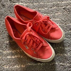 Superga salmon pink canvas sneakers shoes size 6.5